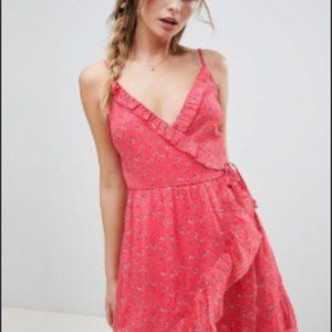 Abercrombie & Fitch Pink Floral Wrap Dress w/Frill